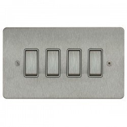 Focus SB Ambassador ASS11.4W 4 gang 20 amp 2 way rocker switch in Satin Stainless with white inserts