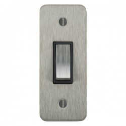 Focus SB Ambassador ASS16.1B 1 gang 20 amp 2 way architrave switch in Satin Stainless with black inserts