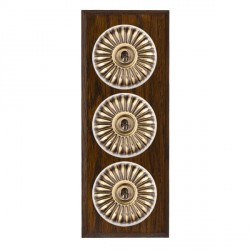 Hamilton Bloomsbury Chamfered Dark Oak Fluted Antique Brass 3 Gang 2 Way Toggle with White Insert