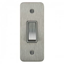 Focus SB Ambassador ASS16.1W 1 gang 20 amp 2 way architrave switch in Satin Stainless with white inserts