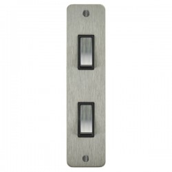 Focus SB Ambassador ASS16.2B 2 gang 20 amp 2 way architrave switch in Satin Stainless with black inserts