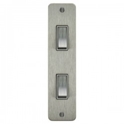 Focus SB Ambassador ASS16.2W 2 gang 20 amp 2 way architrave switch in Satin Stainless with white inserts