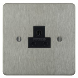 Focus SB Ambassador ASS19.1B 1 gang 2 amp unswitched socket in Satin Stainless with black inserts
