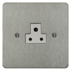Focus SB Ambassador ASS19.1W 1 gang 2 amp unswitched socket in Satin Stainless with white inserts
