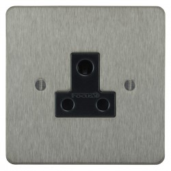Focus SB Ambassador ASS20.1B 1 gang 5 amp unswitched socket in Satin Stainless with black inserts