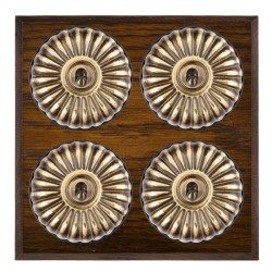 Hamilton Bloomsbury Chamfered Dark Oak Fluted Antique Brass 4 Gang 2 Way Toggle with Black Insert