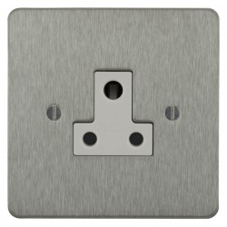 Focus SB Ambassador ASS20.1W 1 gang 5 amp unswitched socket in Satin Stainless with white inserts