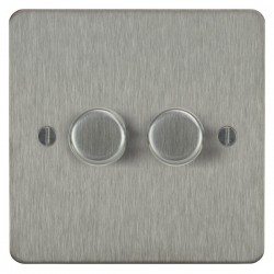 Focus SB Ambassador ASS21.2 2 gang 2 way 250W (mains and low voltage) dimmer in Satin Stainless