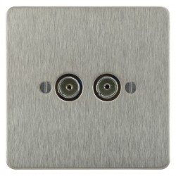 Focus SB Ambassador ASS23.2 2 gang isolated co-axial TV socket in Satin Stainless