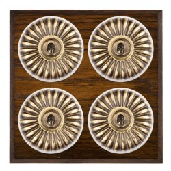 Hamilton Bloomsbury Chamfered Dark Oak Fluted Antique Brass 4 Gang 2 Way Toggle with White Insert