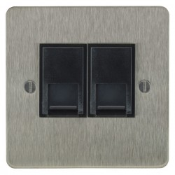 Focus SB Ambassador ASS24.2B 2 gang master telephone socket in Satin Stainless with black inserts