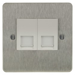 Focus SB Ambassador ASS24.2W 2 gang master telephone socket in Satin Stainless with white inserts