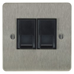 Focus SB Ambassador ASS25.2B 2 gang slave telephone socket in Satin Stainless with black inserts