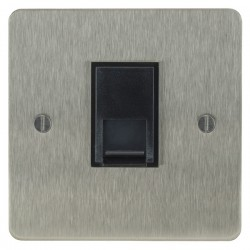 Focus SB Ambassador ASS51.1B 1 gang CAT5 RJ45 socket in Satin Stainless with black inserts