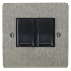 Focus SB Ambassador ASS51.2B 2 gang CAT5 RJ45 socket in Satin Stainless with black inserts
