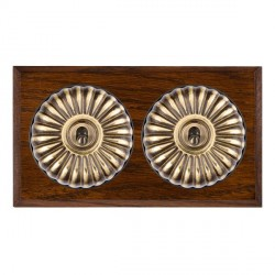 Hamilton Bloomsbury Chamfered Dark Oak Fluted Antique Brass 2 Gang Intermediate Toggle with Black Insert