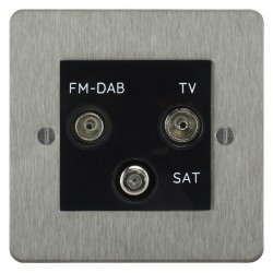 Focus SB Ambassador ASS80.3B triplex TV/FM/Satellite outlet in Satin Stainless with black inserts