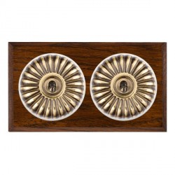 Hamilton Bloomsbury Chamfered Dark Oak Fluted Antique Brass 2 Gang Intermediate Toggle with White Insert