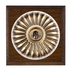 Hamilton Bloomsbury Chamfered Dark Oak Fluted Antique Brass 1 Gang Double Pole Toggle with White Insert