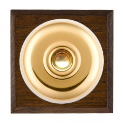 Hamilton Bloomsbury Chamfered Dark Oak Plain Polished Brass Bell Push Toggle with White Insert