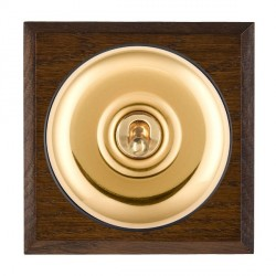 Hamilton Bloomsbury Chamfered Dark Oak Plain Polished Brass 1 Gang 2 Way Toggle with Black Insert