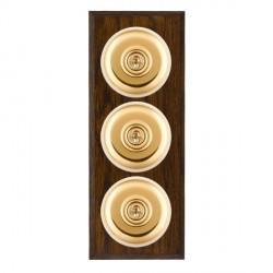 Hamilton Bloomsbury Chamfered Dark Oak Plain Polished Brass 3 Gang 2 Way Toggle with White Insert