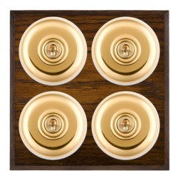 Hamilton Bloomsbury Chamfered Dark Oak Plain Polished Brass 4 Gang 2 Way Toggle with White Insert