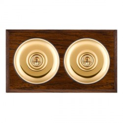 Hamilton Bloomsbury Chamfered Dark Oak Plain Polished Brass 2 Gang Intermediate Toggle with Black Insert