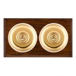 Hamilton Bloomsbury Chamfered Dark Oak Plain Polished Brass 2 Gang Intermediate Toggle with White Insert