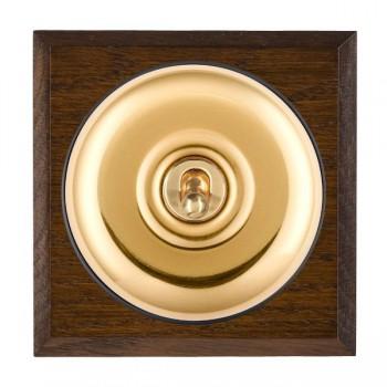 Hamilton Bloomsbury Chamfered Dark Oak Plain Polished Brass 1 Gang Double Pole Toggle with Black Insert
