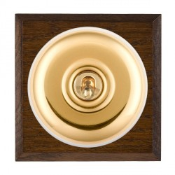 Hamilton Bloomsbury Chamfered Dark Oak Plain Polished Brass 1 Gang Double Pole Toggle with White Insert