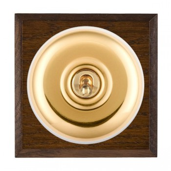 Hamilton Bloomsbury Chamfered Dark Oak Plain Polished Brass 1 Gang Double Pole Toggle with White Insert