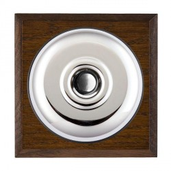 Hamilton Bloomsbury Chamfered Dark Oak Plain Bright Chrome Bell Push Toggle with Black Insert