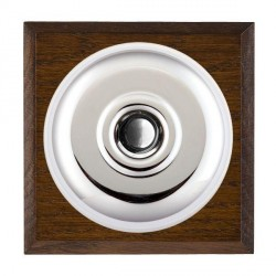 Hamilton Bloomsbury Chamfered Dark Oak Plain Bright Chrome Bell Push Toggle with White Insert