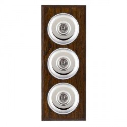 Hamilton Bloomsbury Chamfered Dark Oak Plain Bright Chrome 3 Gang 2 Way Toggle with Black Insert