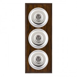 Hamilton Bloomsbury Chamfered Dark Oak Plain Bright Chrome 3 Gang 2 Way Toggle with White Insert