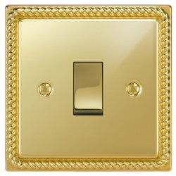Focus SB Georgian GPB11.1 1 gang 20 amp 2 way rocker switch in Polished Brass with black inserts