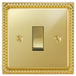 Focus SB Georgian GPB11.1/3 1 gang 20 amp Intermediate rocker switch in Polished Brass