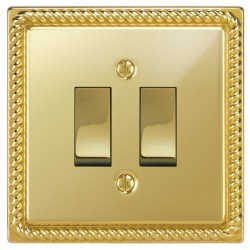 Focus SB Georgian GPB11.2 2 gang 20 amp 2 way rocker switch in Polished Brass with black inserts