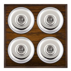 Hamilton Bloomsbury Chamfered Dark Oak Plain Bright Chrome 4 Gang 2 Way Toggle with Black Insert