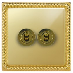 Focus SB Georgian GPB14.2 2 gang 20 amp 2 way toggle switch in Polished Brass