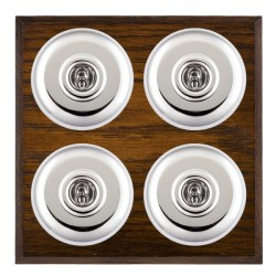 Hamilton Bloomsbury Chamfered Dark Oak Plain Bright Chrome 4 Gang 2 Way Toggle with White Insert
