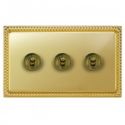 Focus SB Georgian GPB14.3 3 gang 20 amp 2 way toggle switch in Polished Brass