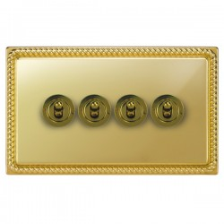 Focus SB Georgian GPB14.4 4 gang 20 amp 2 way toggle switch in Polished Brass