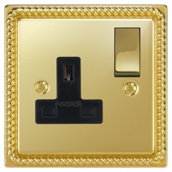 Focus SB Georgian GPB18.1B 1 gang 13 amp switched socket in Polished Brass with black inserts