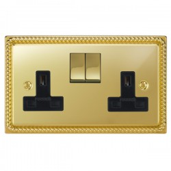 Focus SB Georgian GPB18.2B 2 gang 13 amp switched socket in Polished Brass with black inserts