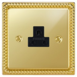 Focus SB Georgian GPB19.1B 1 gang 2 amp unswitched socket in Polished Brass with black inserts