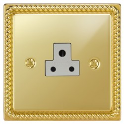 Focus SB Georgian GPB19.1W 1 gang 2 amp unswitched socket in Polished Brass with white inserts