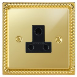 Focus SB Georgian GPB20.1B 1 gang 5 amp unswitched socket in Polished Brass with black inserts