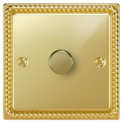 Focus SB Georgian GPB21.1 1 gang 2 way 250W (mains and low voltage) dimmer in Polished Brass